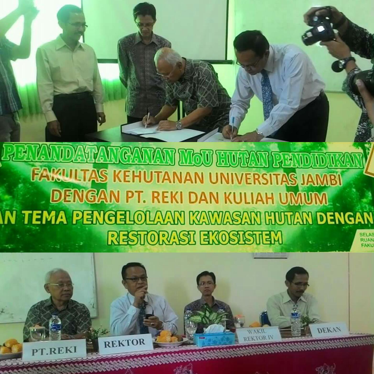 Fakultas Kehutanan Universitas Jambi dan  PT Restorasi Ekosistem Indonesia (REKI) tandatangani MoU Hutan Pendidikan