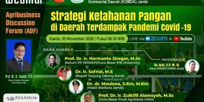 Agribusiness Discussion Forum (ADF) Jurusan Agribisnis Faperta UNJA-PERHEPI Komisariat Daerah Jambi